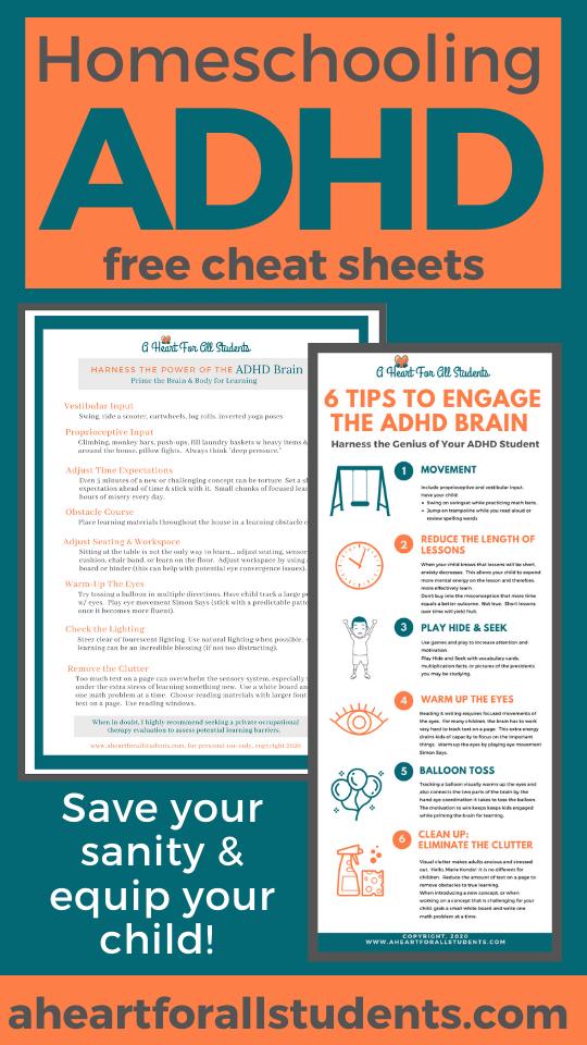 cheat sheets  tips how to homeschool adhd kids