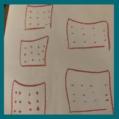 5 squares with a dozen dots in each